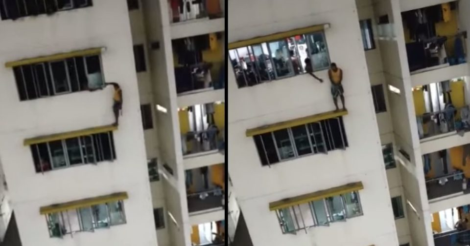 Foreign worker apprehended after standing on ledge outside window at Kaki Bukit dormitory